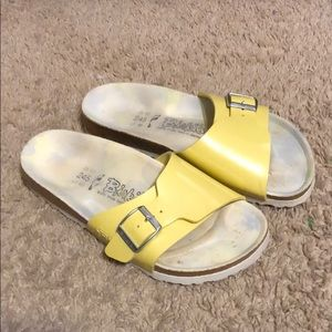 Birki's Yellow One-Strap Sandals, size 38(7.5-8)